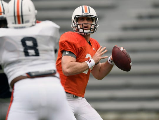 Quarterback Cord Sandberg in practice Saturday, April 6, 2019 in Auburn, Ala.