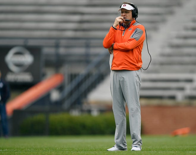 Coach Gus Malzahn watches his team Saturday.Auburn football practice on Saturday, April 6, 2019 in Auburn, Ala. Todd Van Emst/AU Athletics