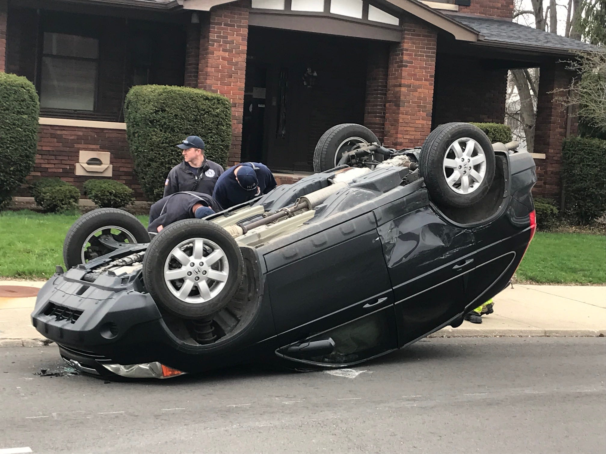 A two-vehicle accident shortly before 11 a.m. Wednesday at Madison and Washington streets left a Honda vehicle on its roof.