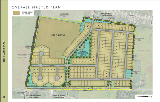This rendering shows the master plan for the Smith Farms subdivision proposing to add 196 homes on Blackman Road.
