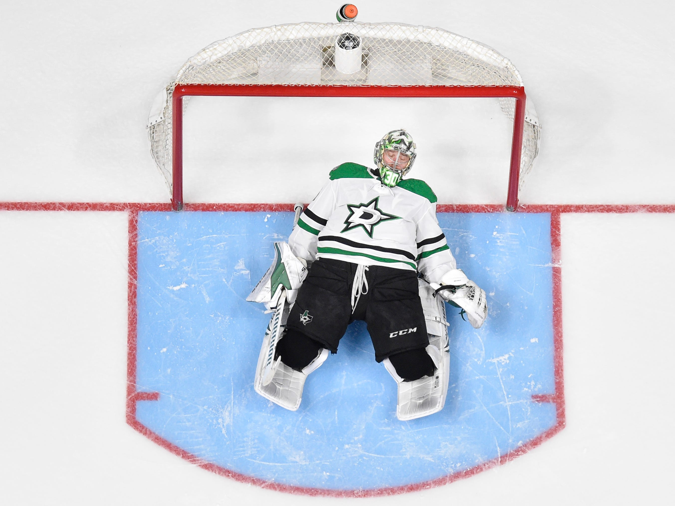 Dallas Stars goaltender Ben Bishop (30) stretches before the second period against the Nashville Predators of the divisional semifinal game at Bridgestone Arena in Nashville, Tenn., Wednesday, April 10, 2019.