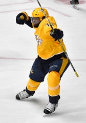 Nashville Predators defenseman P.K. Subban (76) celebrates his goal during the third period of the divisional semifinal game against the Dallas Stars at Bridgestone Arena in Nashville, Tenn., Wednesday, April 10, 2019.