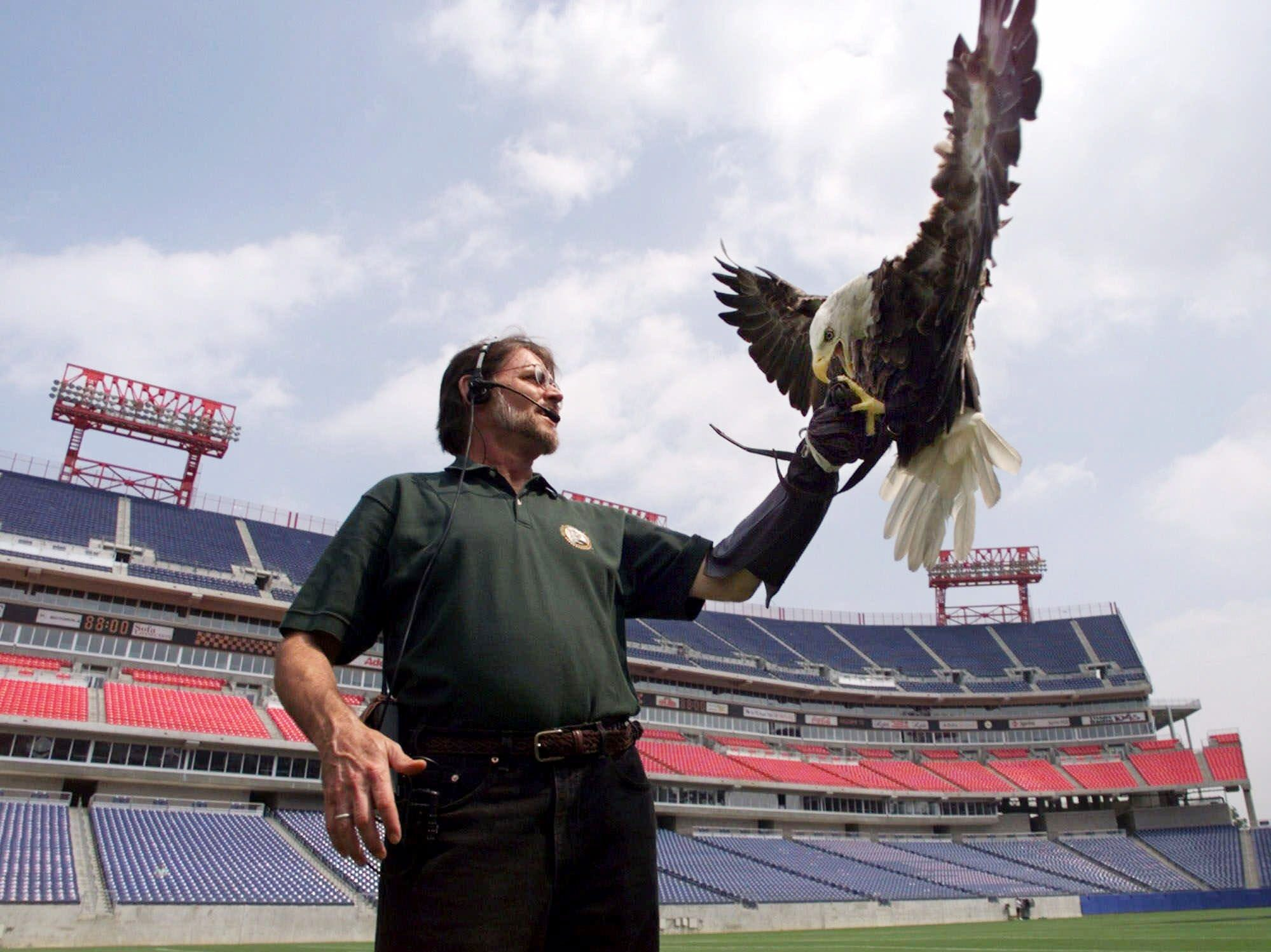 Challenger, an 11-year-old male bald eagle, lands on the hand of Al Cecere as they practice at Adelphia Coliseum in Nashville Aug. 26, 1999. Challenger and Cecere will be part of the pre-game show of the Atlanta Falcons-Tennessee Titans preseason game.