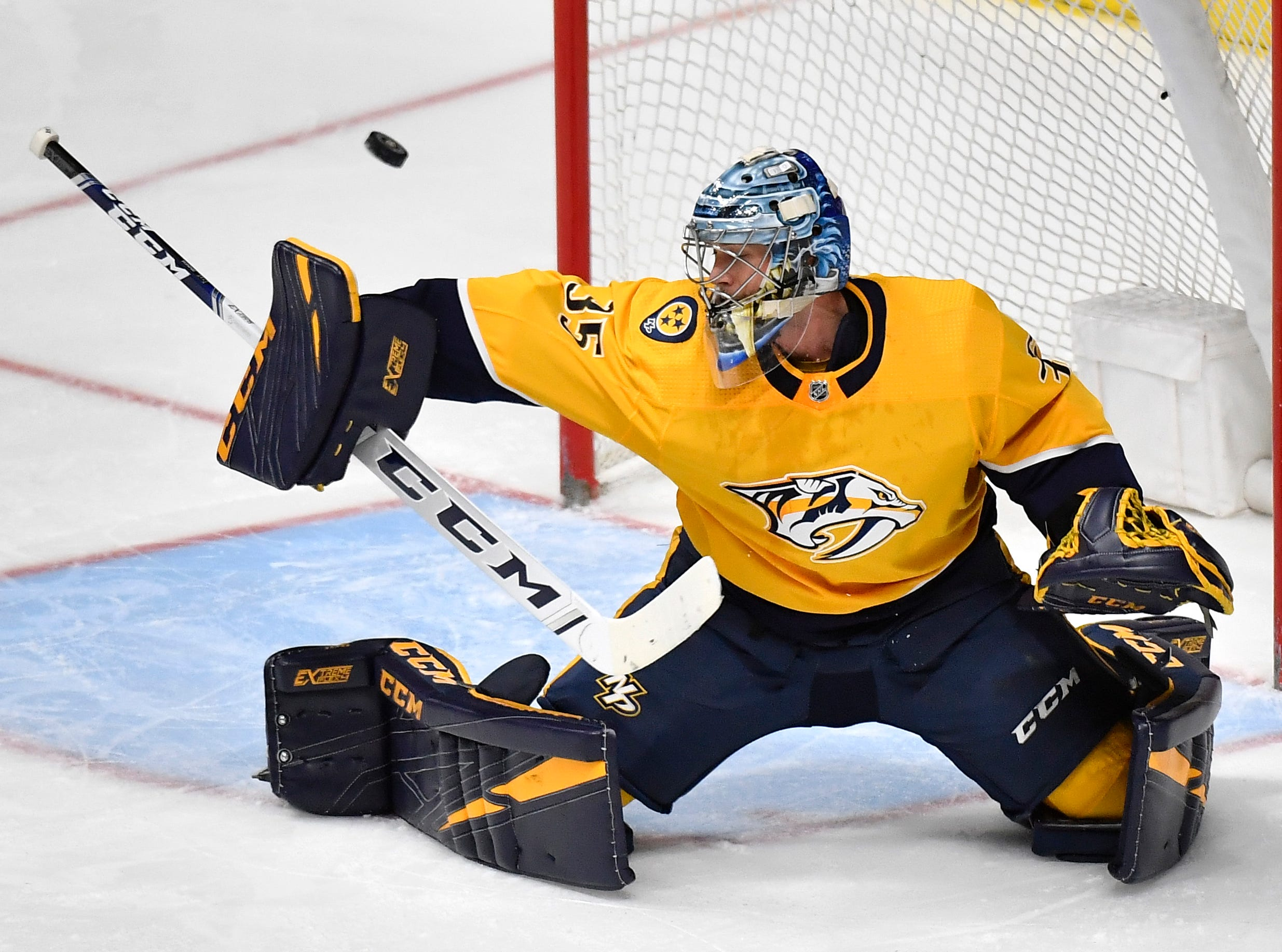 Nashville Predators goaltender Pekka Rinne (35) makes a stop during the second period of the divisional semifinal game at Bridgestone Arena in Nashville, Tenn., Wednesday, April 10, 2019.