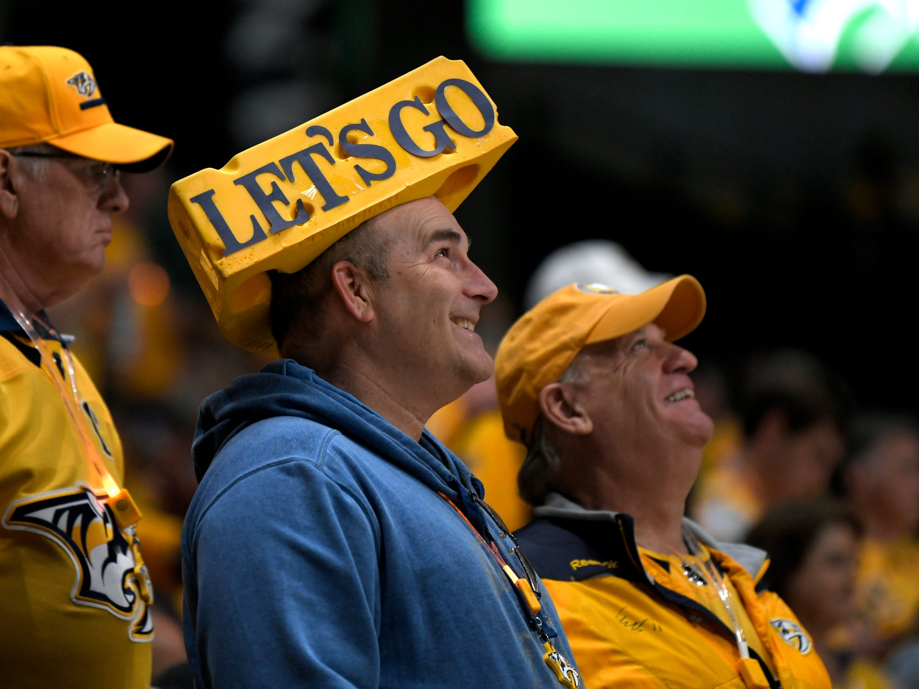 Fans watch as the Predators take the ice for the divisional semifinal Stanley Cup playoff game at Bridgestone Arena in  Nashville on Wednesday, April 10, 2019.