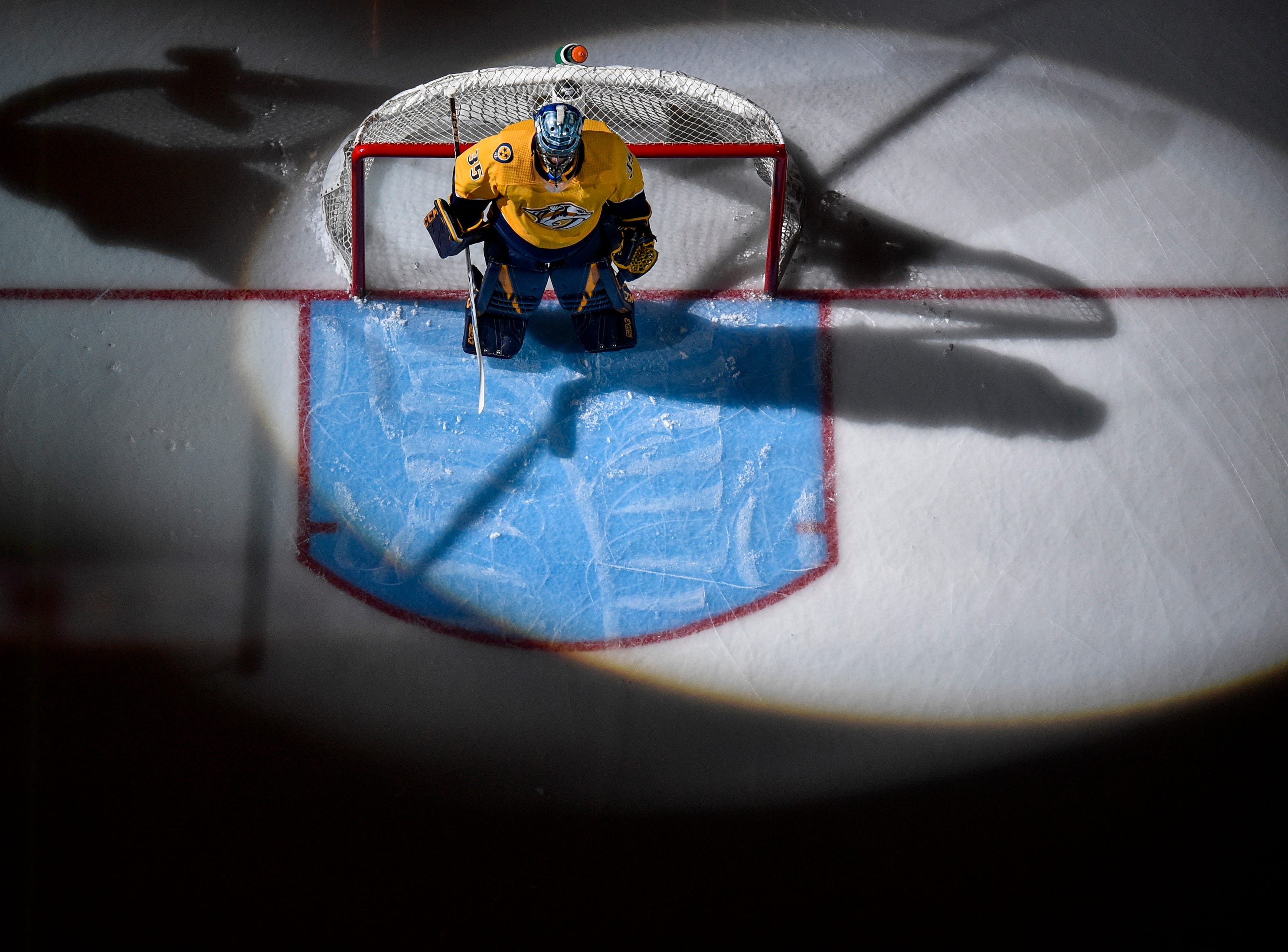 Nashville Predators goaltender Pekka Rinne (35) is introduced before a divisional semifinal game against the Dallas Stars at Bridgestone Arena in Nashville, Tenn., Wednesday, April 10, 2019.