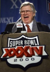 Titans owner Bud Adams during a press conference before Super Bowl XXXIV in January 2000.