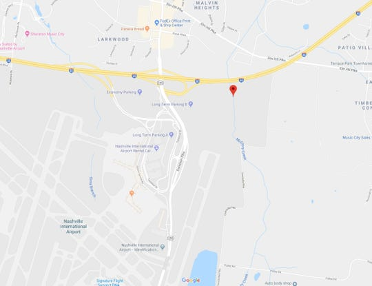 An oily sheen was reported in a section of McCrory Creek that runs through Nashville International Airport property, close to the site of a Colonial Pipeline rupture earlier this week.