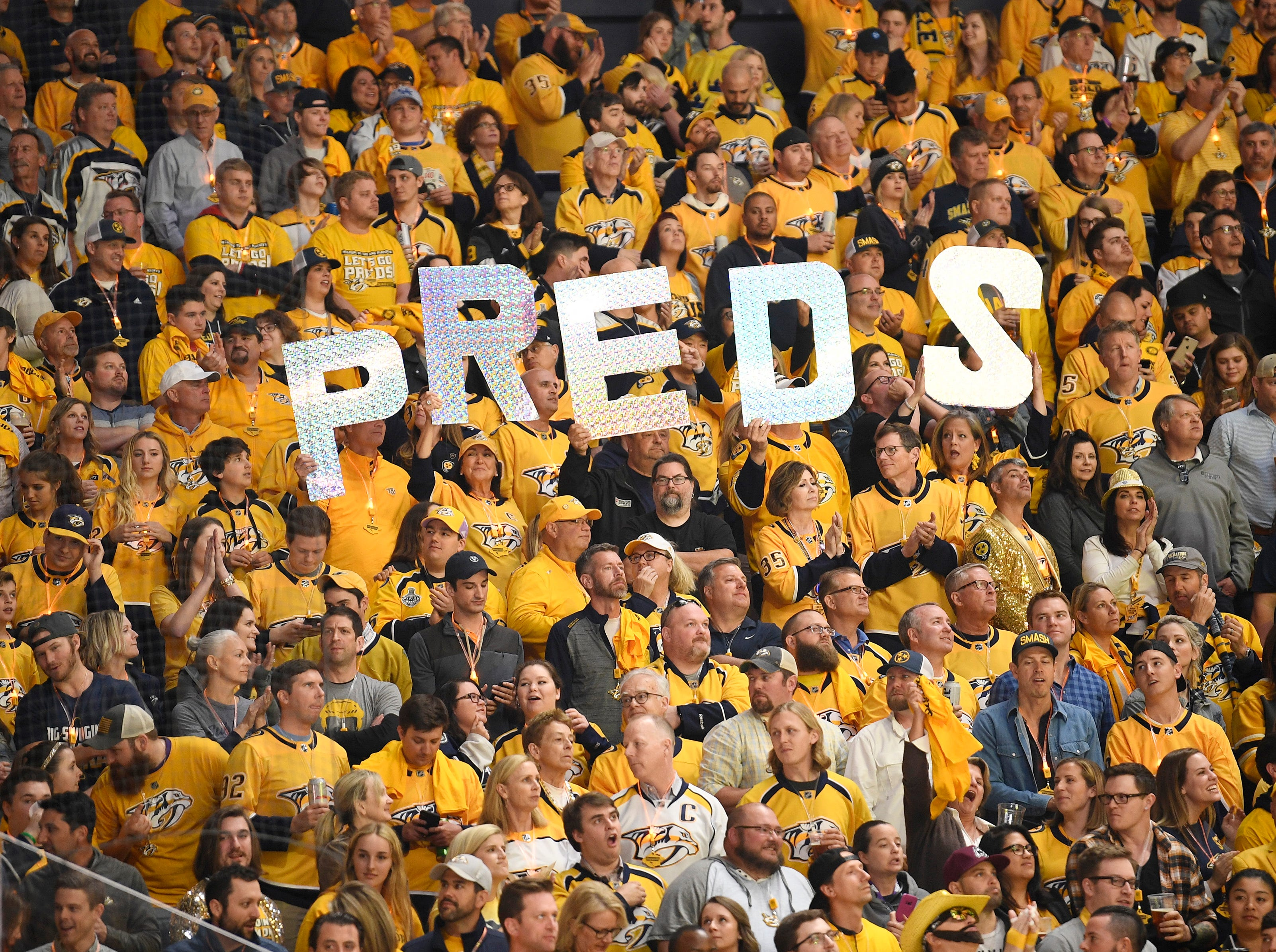 Predators fans show their spirit during the divisional semifinal game against the Dallas Stars at Bridgestone Arena in Nashville, Tenn., Wednesday, April 10, 2019.