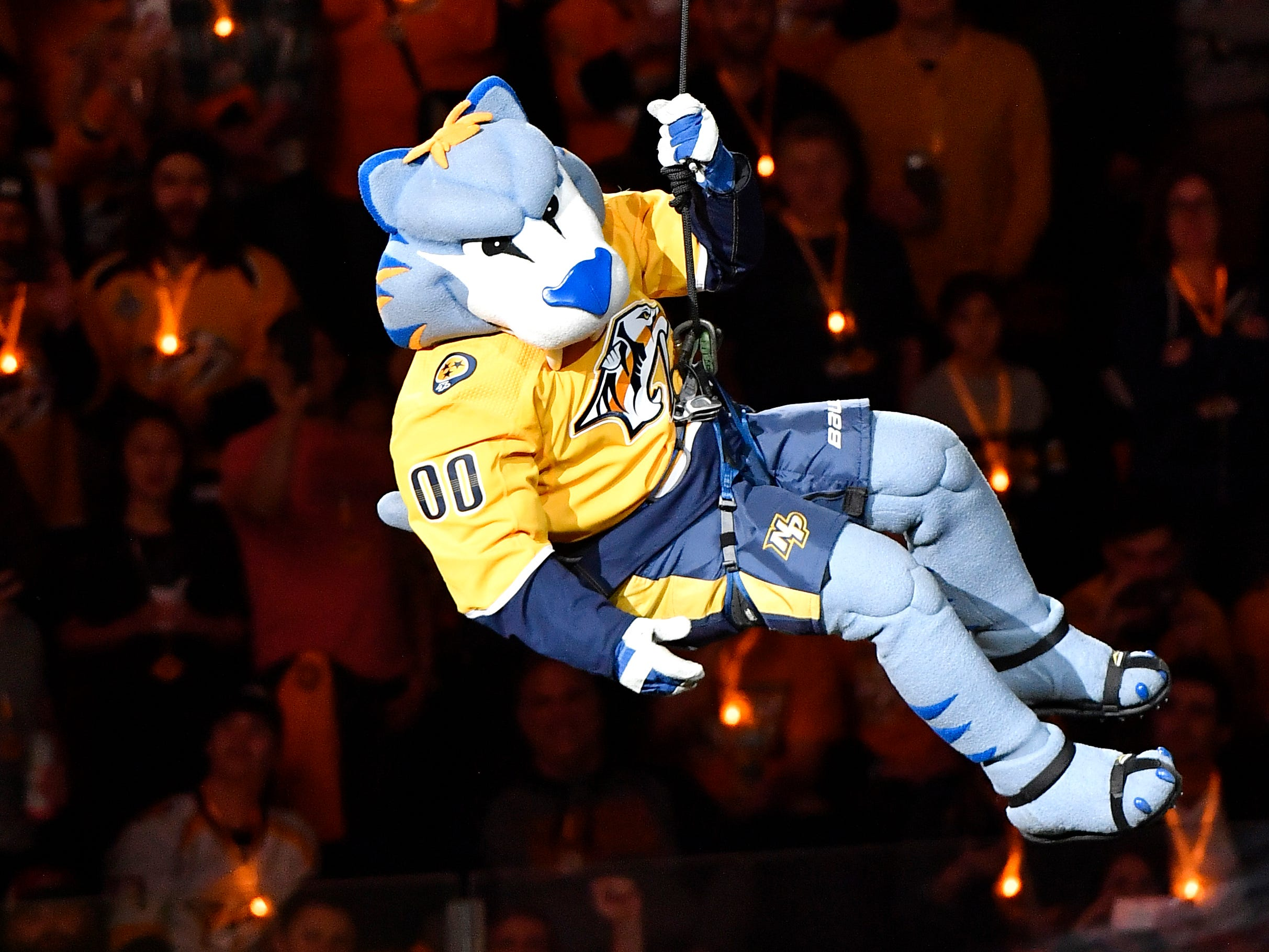Predators mascot Gnash enters the arena during pregame festivities before the divisional semifinal game at Bridgestone Arena in Nashville, Tenn., Wednesday, April 10, 2019.