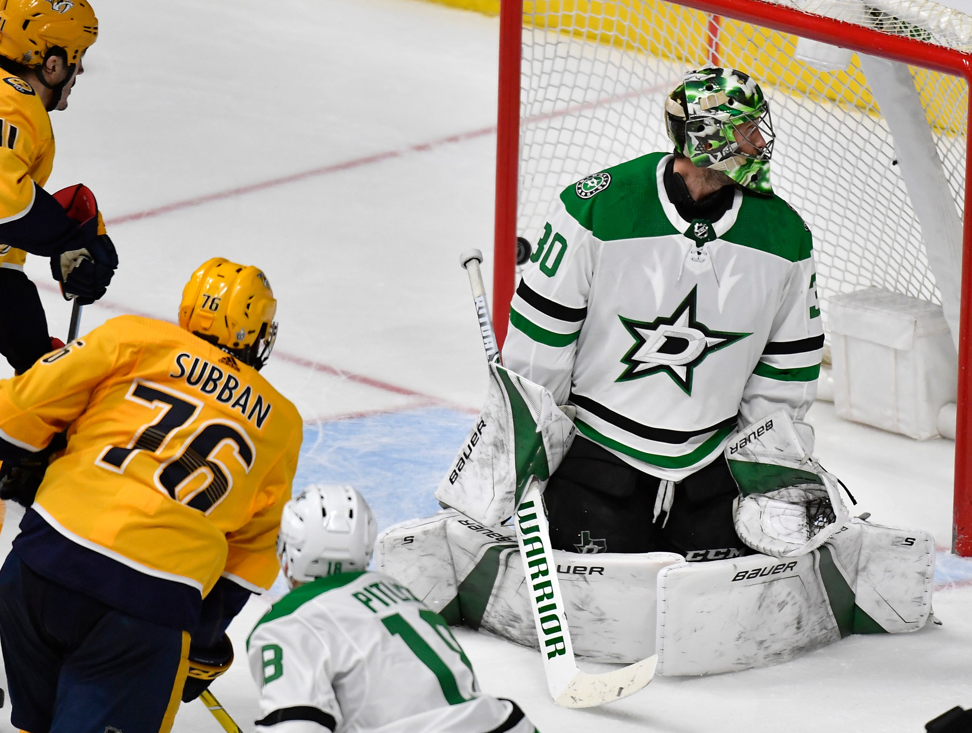 Nashville Predators defenseman P.K. Subban (76) scores on Dallas Stars goaltender Ben Bishop (30) during the third period of the divisional semifinal game at Bridgestone Arena in Nashville, Tenn., Wednesday, April 10, 2019.
