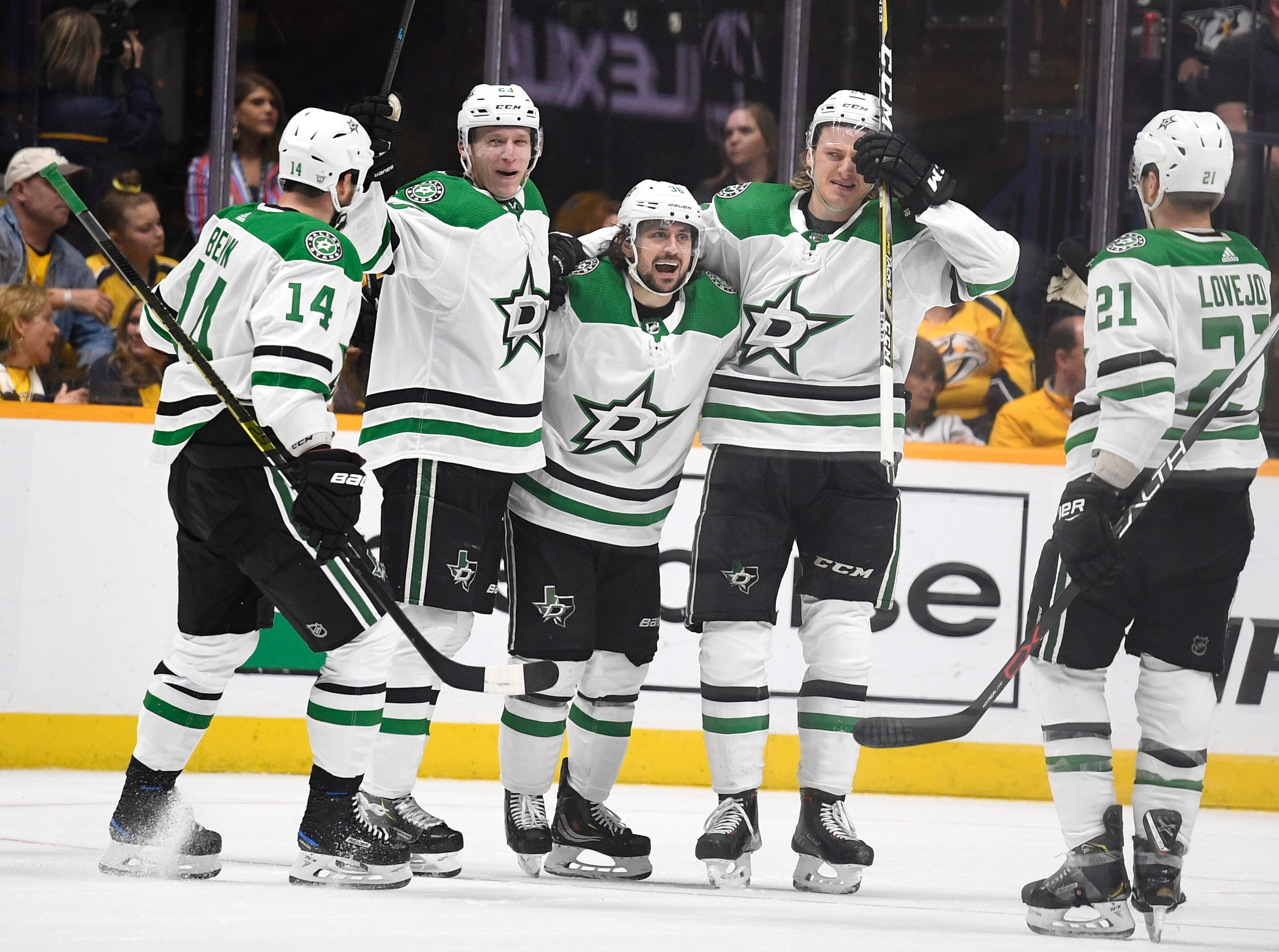 Dallas Stars center Mats Zuccarello (36) celebrates his goal with his teammates during the third period of the divisional semifinal game at Bridgestone Arena in Nashville, Tenn., Wednesday, April 10, 2019.