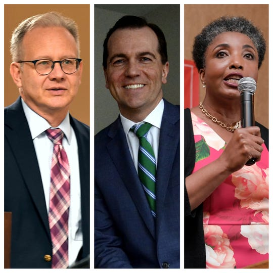 Mayor David Briley, left, state Rep. John Ray Clemmons, center, and Carol Swain, right, a retired Vanderbilt professor, are running for Nashville mayor in the Aug. 1 election.