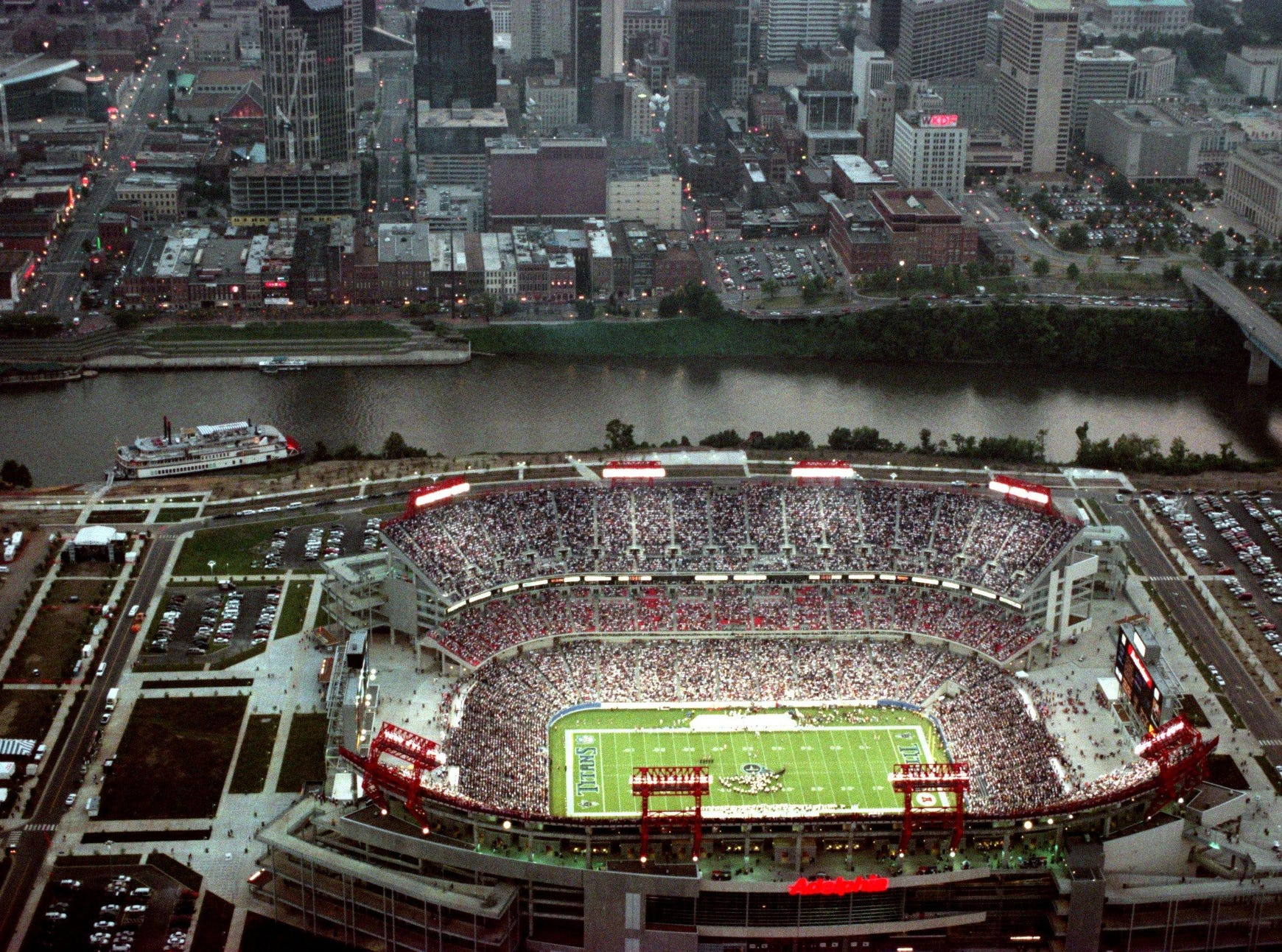 The opening game of the Tennessee Titans and the Atlanta Falcons packed the new Adelphia Coliseum in their first home game ever during the preseason battle Aug. 27, 1999.