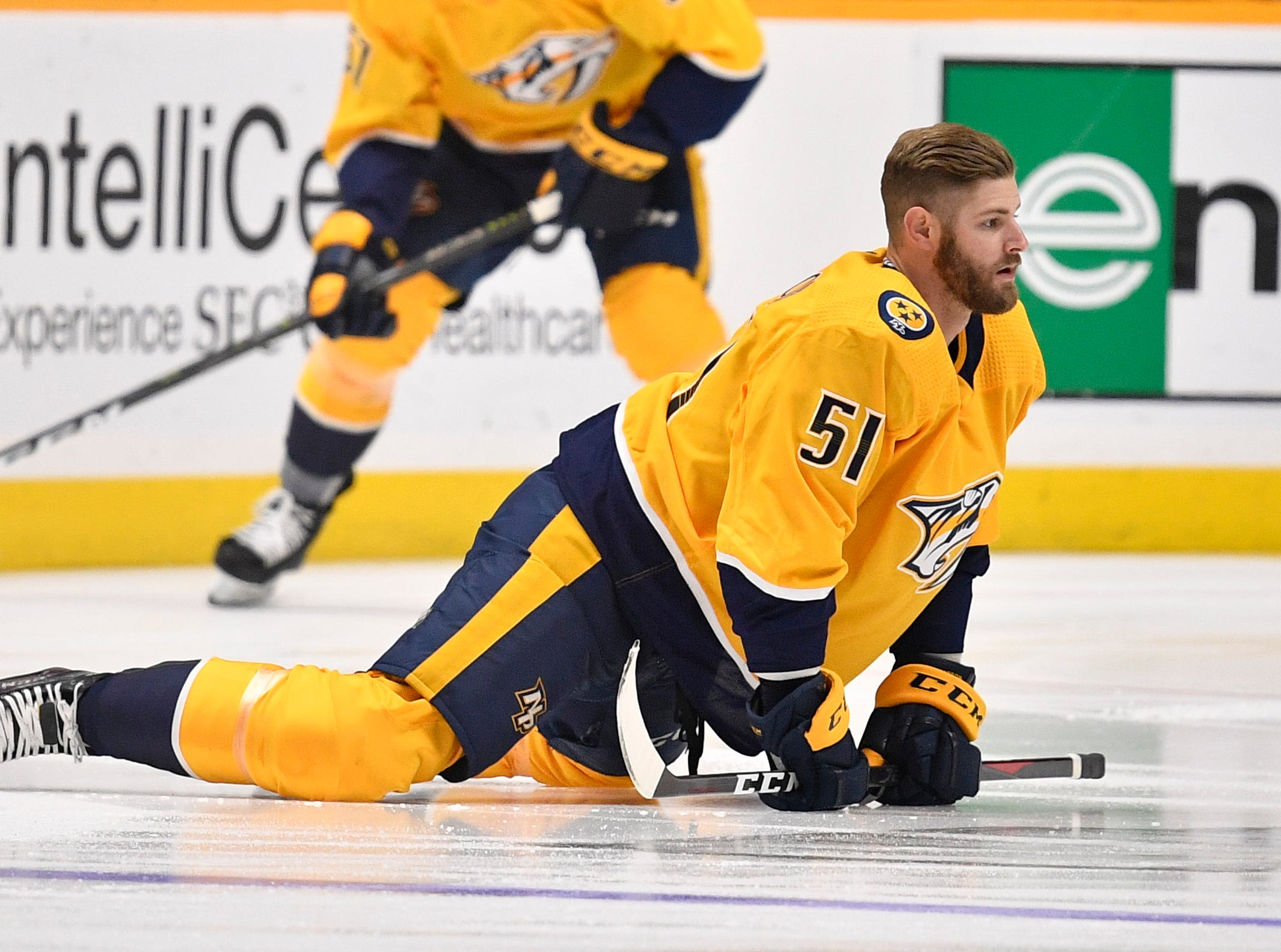 Nashville Predators left wing Austin Watson (51) warms up before divisional semifinal game against the Dallas Stars at Bridgestone Arena in Nashville, Tenn., Wednesday, April 10, 2019.