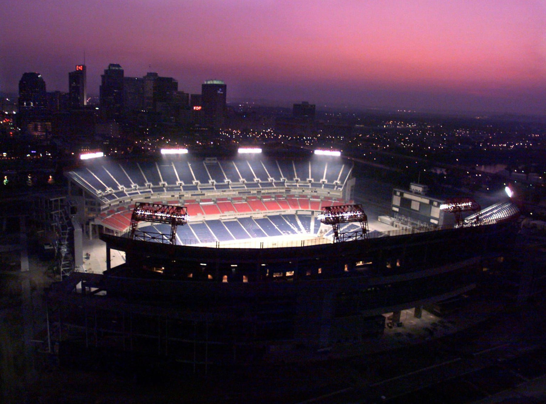 The new stadium lights burn for 100 hours for the first time in Nashville May 14, 1999.