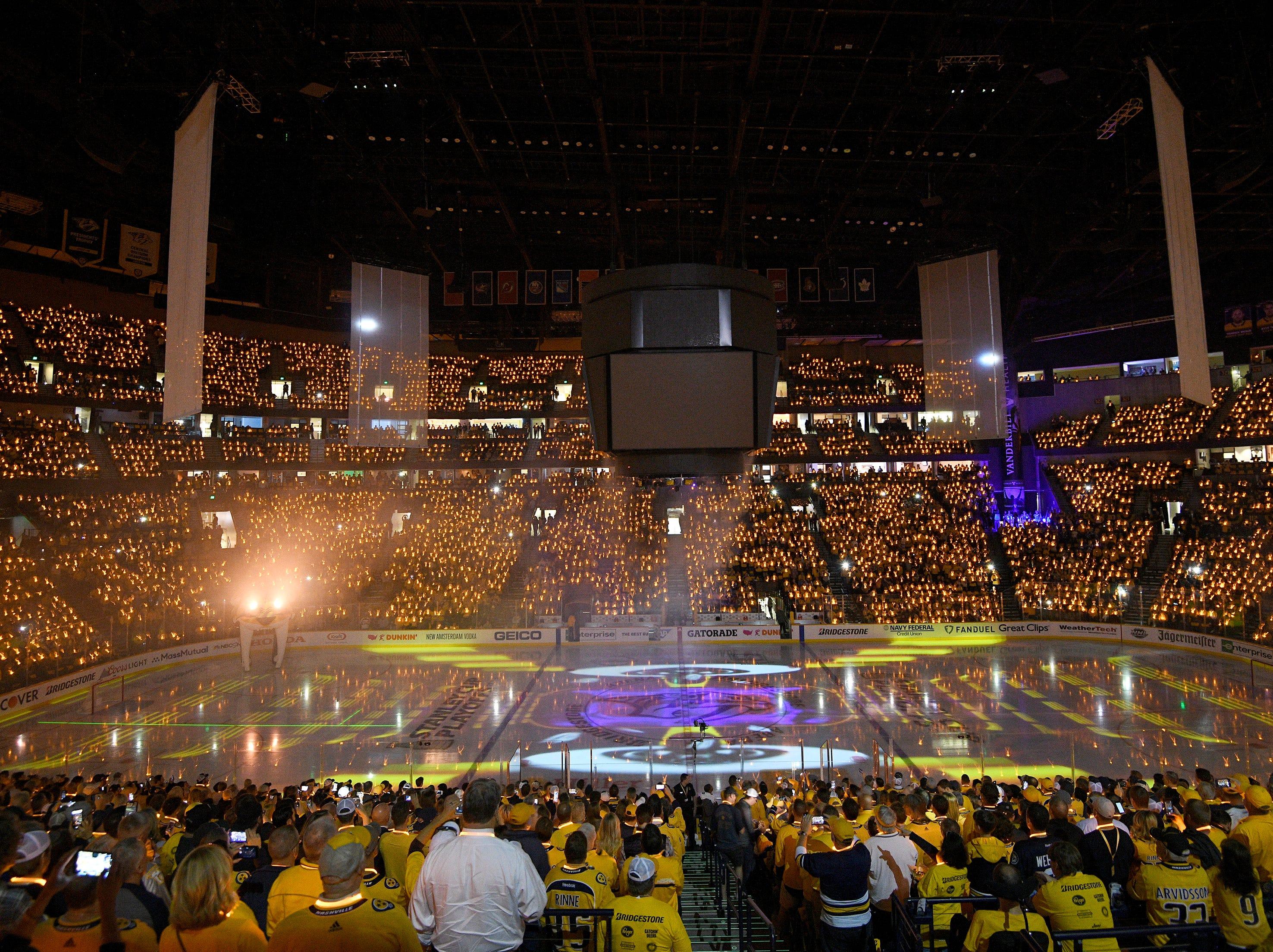 Pregame festivities before the Predators' divisional semifinal game at Bridgestone Arena in Nashville, Tenn., Wednesday, April 10, 2019.