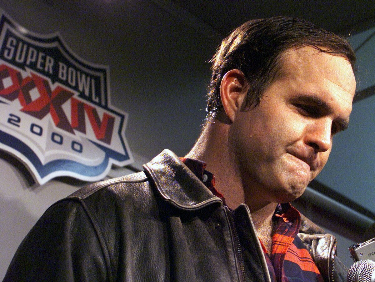 An emotional Bruce Matthews talks to the media after the Tennessee Titans heartbreaking loss to the St. Louis Rams in Super Bowl XXXIV Jan. 30, 2000.
