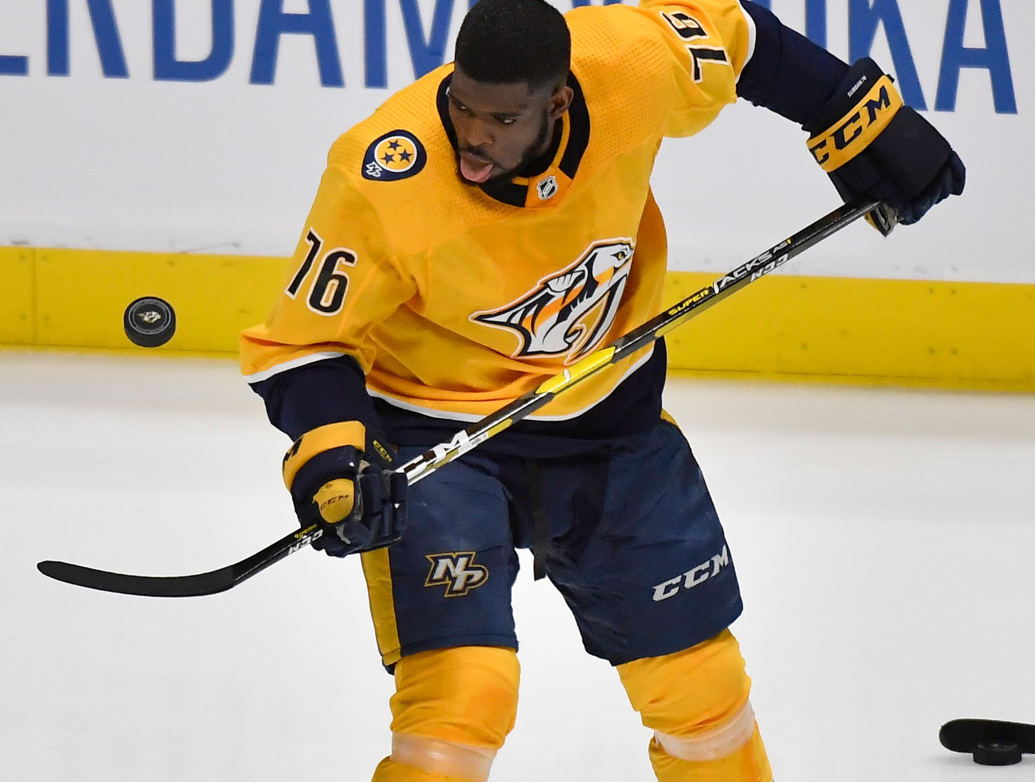 Nashville Predators defenseman P.K. Subban (76) warms up before the divisional semifinal game against the Dallas Stars at Bridgestone Arena in Nashville, Tenn., Wednesday, April 10, 2019.