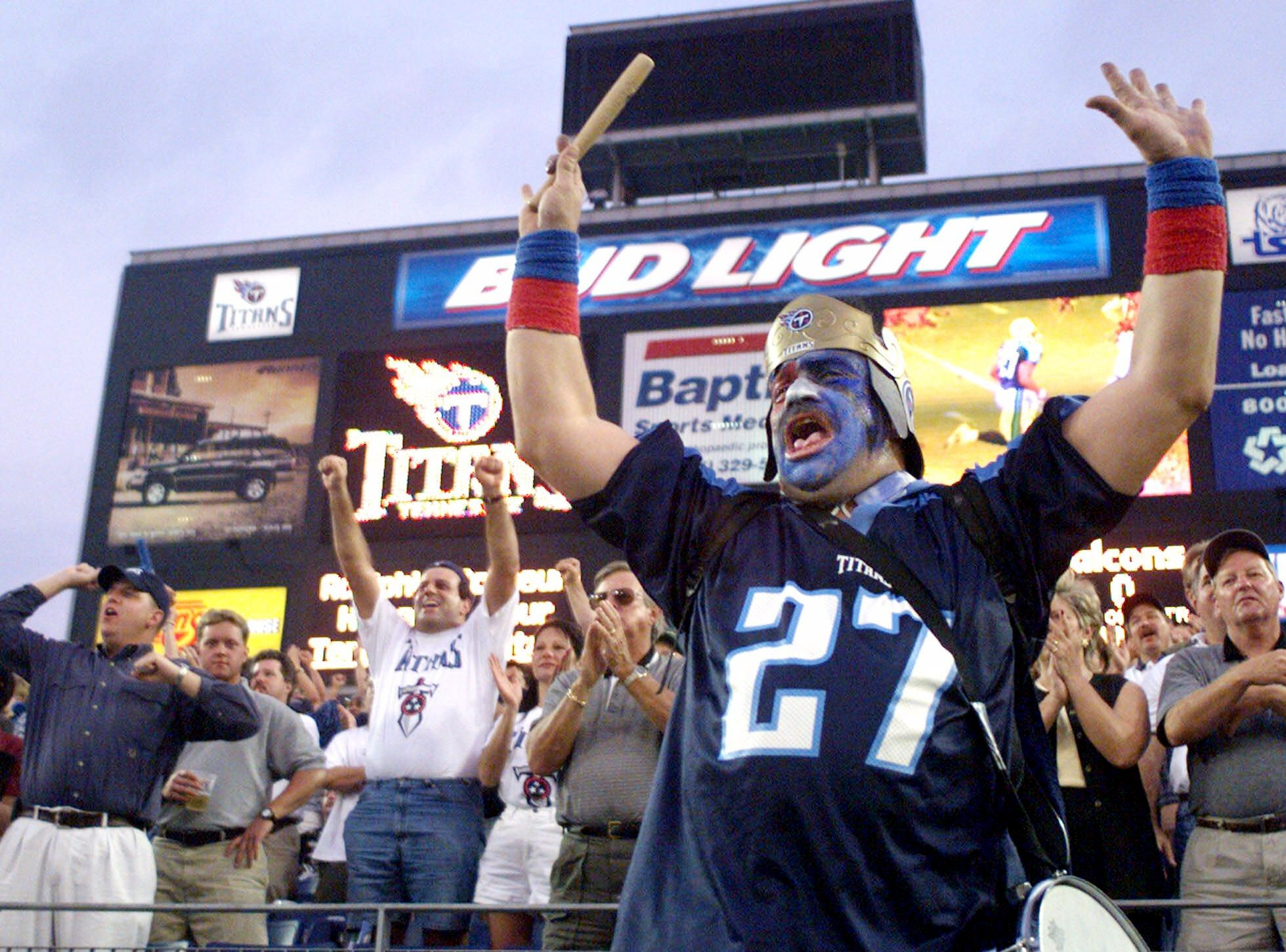 Tennessee Titans fan Gino Rosello roars as the Titans take to the field in the first home game of the pre-sesaon at their new stadium in Nashville Aug. 27, 1999 against the Atlanta Falcons.