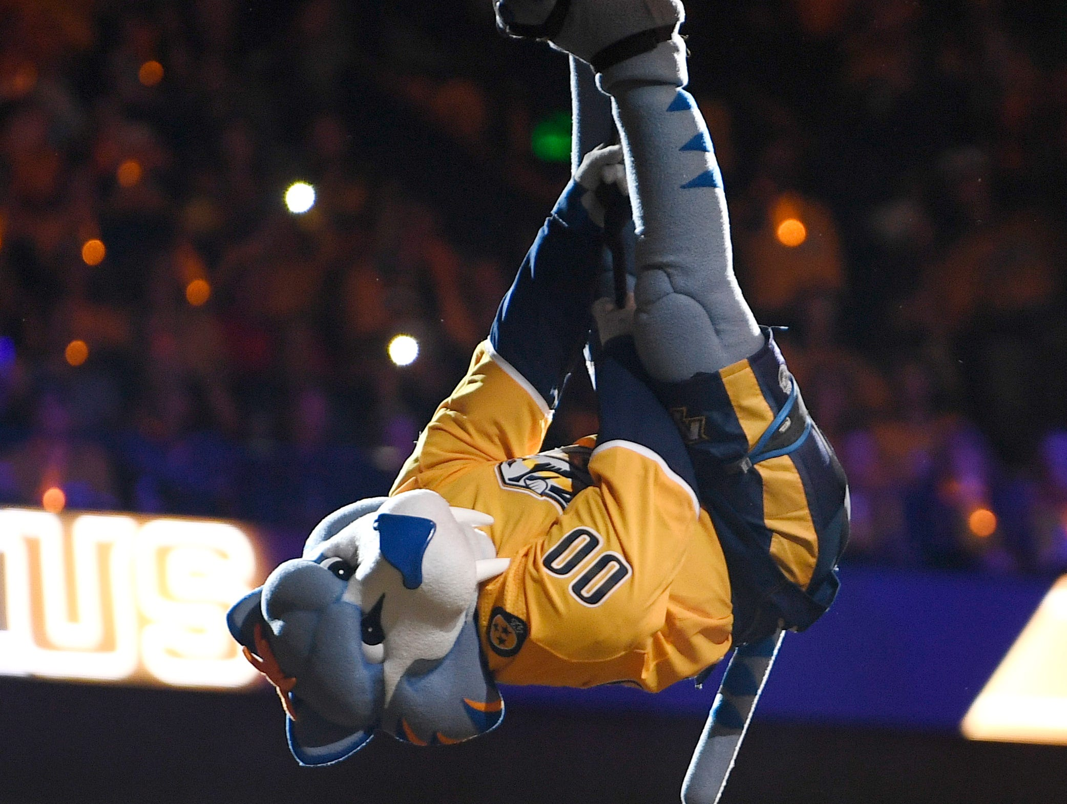 Predators mascot Gnash enters before the divisional semifinal game at Bridgestone Arena in Nashville, Tenn., Wednesday, April 10, 2019.