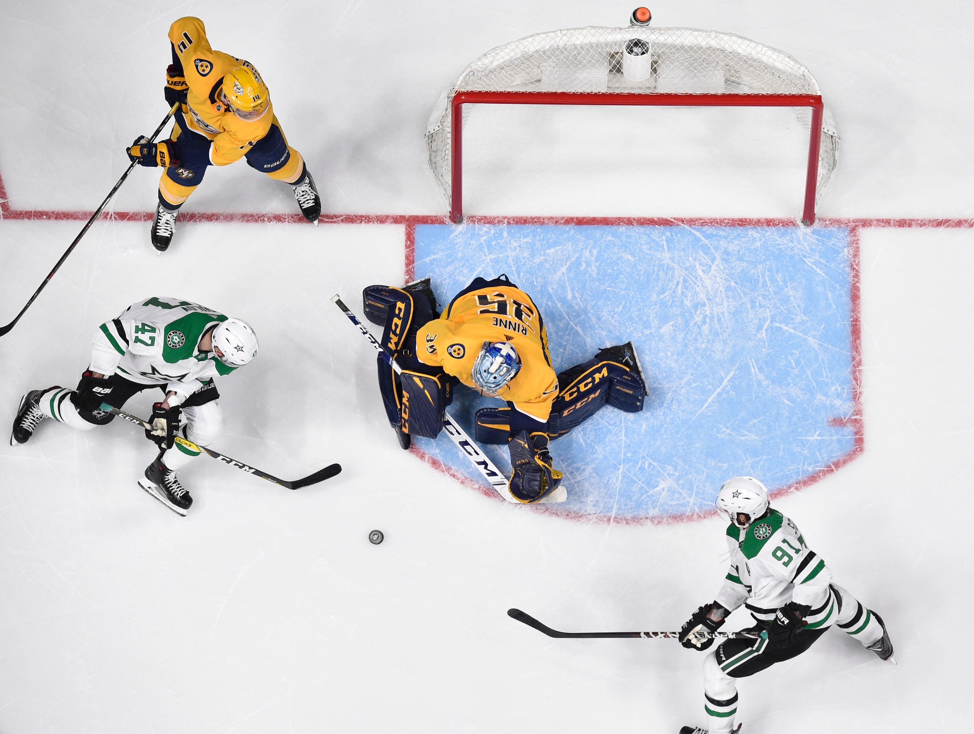 Nashville Predators goaltender Pekka Rinne (35) defends against Dallas Stars right wing Alexander Radulov (47) during the third period of the divisional semifinal game at Bridgestone Arena in Nashville, Tenn., Wednesday, April 10, 2019.