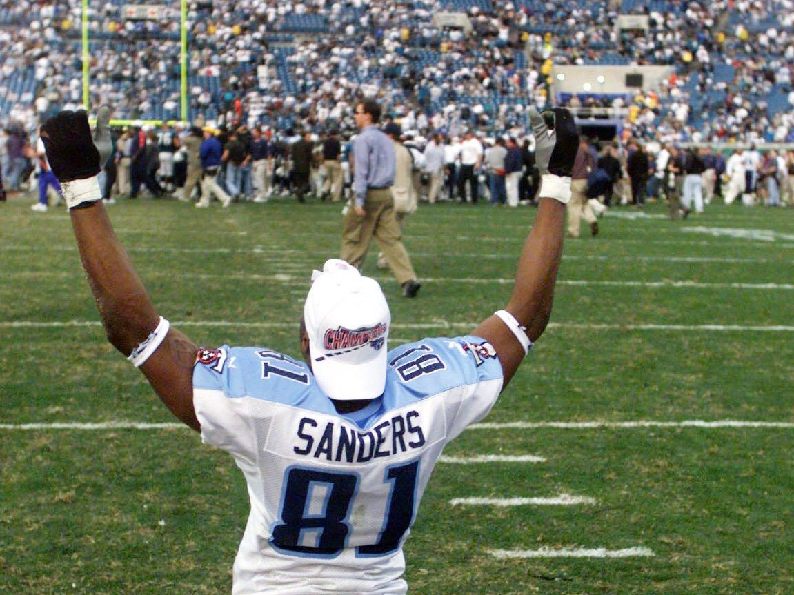 Tennessee Titans receiver Chris Sanders celebrates their 33-14 victory over the Jacksonville Jaguars in the AFC championship game at Alltel Stadium in Jacksonville Jan. 23, 2000.