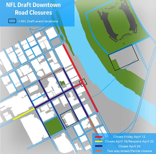 The NFL Draft will lead to several road closures leading up to and through the event.