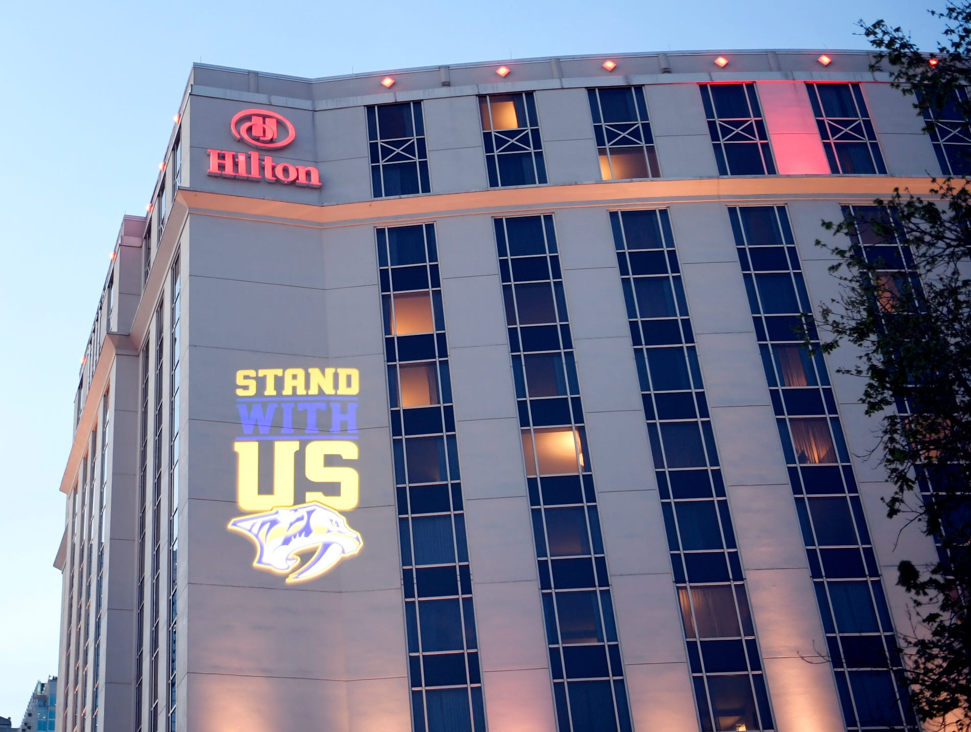The Hilton is decked out with Predators spirit before the divisional semifinal game at Bridgestone Arena against the Dallas Stars in Nashville, Tenn., Wednesday, April 10, 2019.