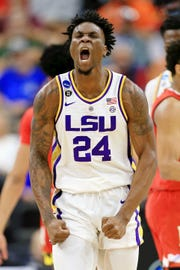 LSU Tigers forward Emmitt Williams (24) celebrates a play against the Maryland Terrapins during the first half in the second round of the 2019 NCAA Tournament at Jacksonville Veterans Memorial Arena. Williams, a Fort Myers native, declared for the NBA Draft on Thursday.