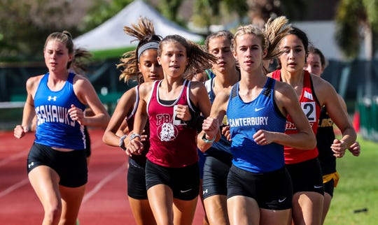 Jessica Edwards, Canterbury, went on to win the girls 1600. Action from the finals as track and field teams from Collier and Lee county schools compete in the Class 1A-District 8 meet.