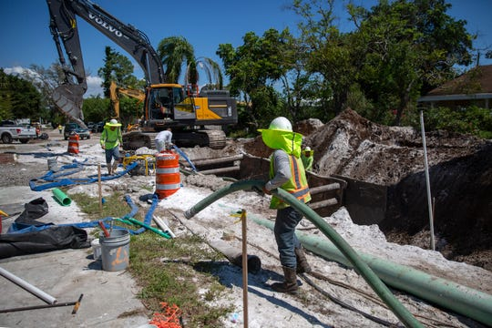 Sewer system work continues on Ridge Street on Thursday, April 11, 2019, in Naples.
