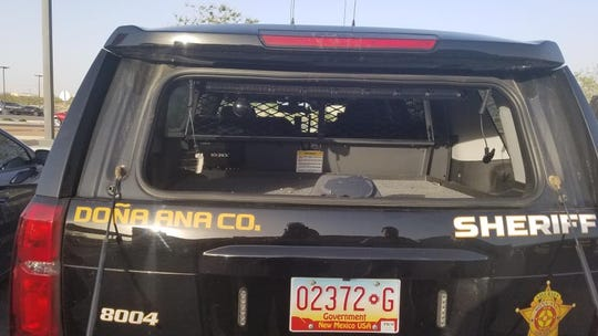 The Doña Ana County Sheriff's Department posted this photo on social media of a DASO patrol vehicle whose rear window was busted out in a severe wind storm while deputies were responding to a turned-over trailer on U.S. Hwy. 70, east of San Augustin Pass on Wednesday, April 10, 2019. It was one of two vehicles with windows broken in the windstorm. A top wind speed at the pass that day was reported at 102 mph.