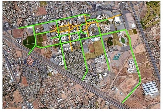 NMSU Chief of Police Stephen Lopez proposed a system of authorized pathways for scooters, the green consisting of current bicycle and multi-use paths, with proposed new multi-use paths in yellow. The image appeared in a March 13, 2019 email from Lopez to NMSU administrators.
