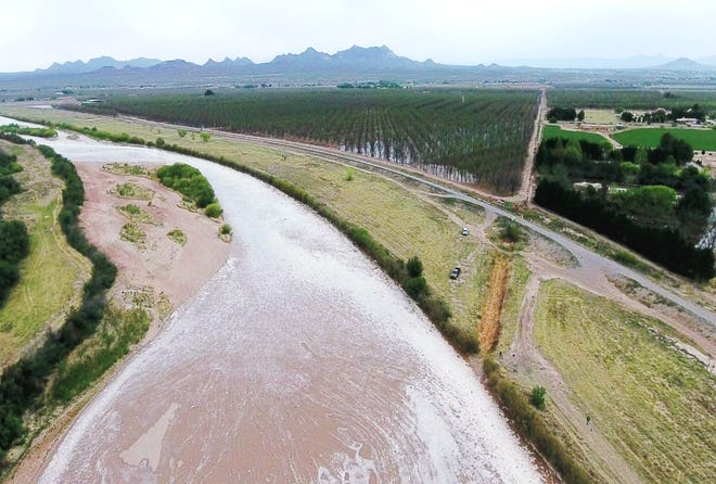 The Rio Grande, as seen from a drone, flows through the Mesilla Valley in 2018.