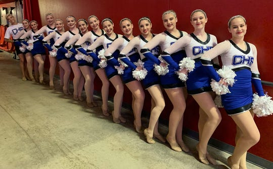 The Carlsbad dance team poses at The Pit before their state competition in March.