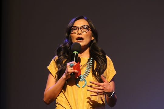 Mesa Elementary School Teacher Andrea Thomas spoke about the path she took to become a teacher during the Education is Our Human Right Forum on Thursday at the Phil L. Thomas Performing Arts Center in Shiprock.
