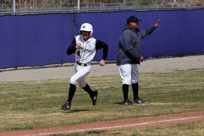 Kirtland Central's Liam Beckstead darts down the third base line and scores a run against Shiprock during Thursday's District 1-4A game at KCHS.