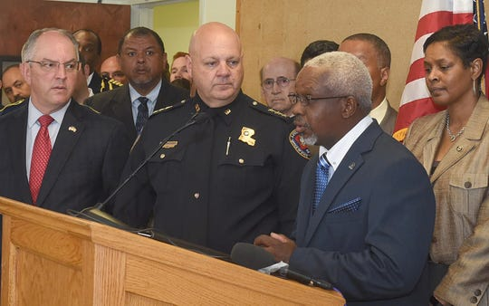 Rev. Gerald Toussaint addresses the news media during a press conference Thursday in Opelousas. From left are La. Gov. John Bel Edwards, Louisiana State Fire Marshal Butch Browning and Dawn Nichols, ATF New Orleans Field Division special agent in charge.