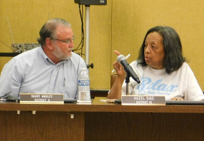 St. Landry Parish School Board members Randy Wagley and Hazel Sias.