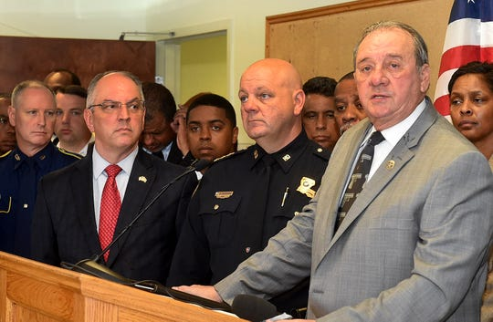 St. Landry Parish Sheriff Bobby Guidroz addresses members of the media during a press conference Thursday.