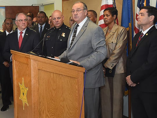 From left, La. Gov. John Bel Edwards, Louisiana State Fire Marshal Butch Browning, Sheriff Bobby Guidroz, Dawn Nichols, ATF New Orleans Field Division special agent in charge, and Eric Rommel, FBI New Orleans Field Office special agent in charge. The group held a press conference Thursday to announce the arrest of a suspect responsible for the recent church fires in St. Landry Parish.