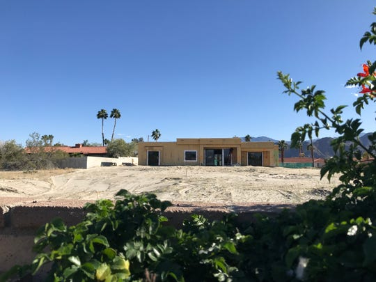 Owners of a home under construction on Delaware Place in Palm Desert have received a permit allowing them to keep horses on the property. But neighbors to the south say the horses would bring odors and dust problems and want the permit overturned. This photo was taken Tuesday, April 10, 2019, from the backyard of Mike and Christine Schwartz, whose home is on Edinburough Street.