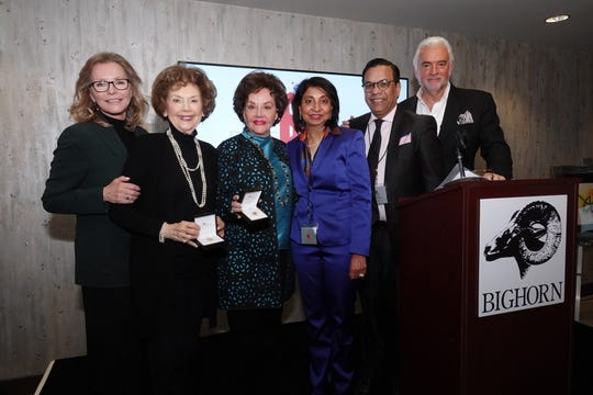 From left to right are co-host Cheryl Ladd; Yvonne Fedderson, co-founder of Childhelp; Sara O'Meara, co-founder of Childhelp; Jaishri and Raju Mehta, owners of El Paseo Jewelers; and co-host John O'Hurley.