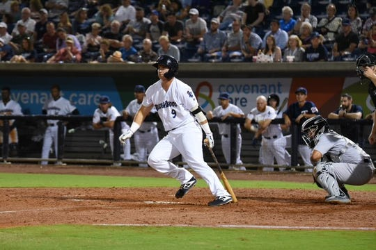 Third baseman Brian Schales reacts to a hit in the Blue Wahoos' home opener on April 10, 2019.