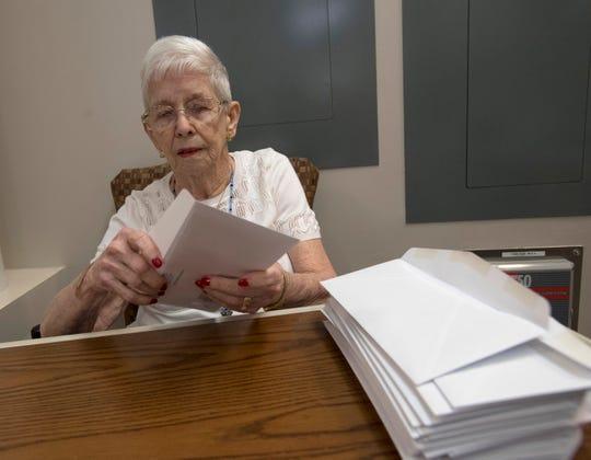Lois Watson, a retired nurse, works April 10 as a volunteer at Baptist Medical Park on Nine Mile Road.