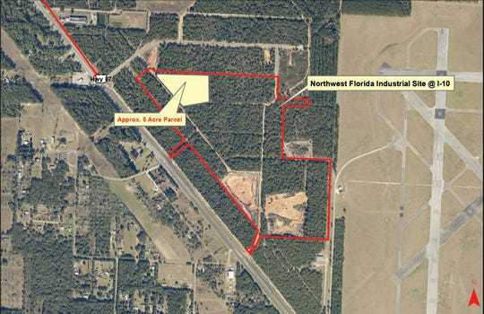 "The potential five-acre location of ""Project Lionheart"" at the Northwest Florida Industrial Park on Interstate 10. An unnamed medical, surgical and pharmaceutical distribution company wants to buy the land."