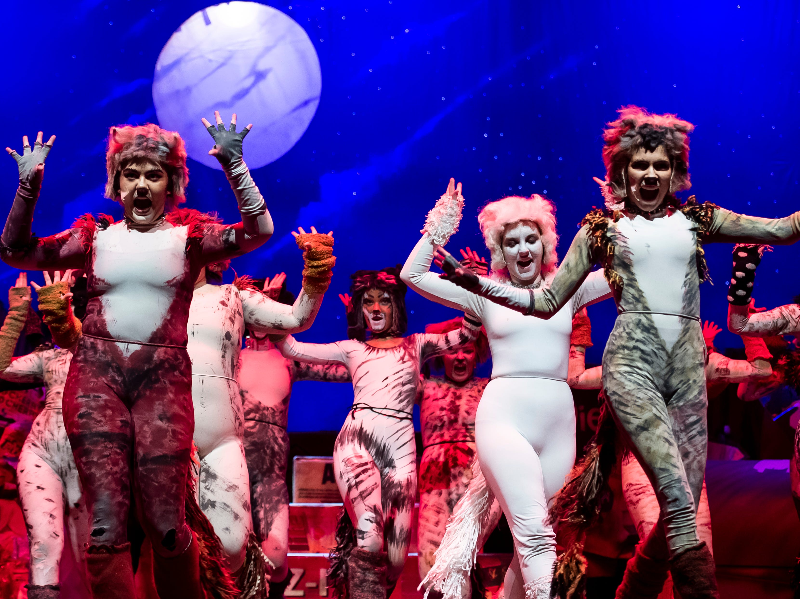 """Hanover High School students perform in a dress rehearsal of """"Cats"""" on Wednesday, April 10, 2019."""