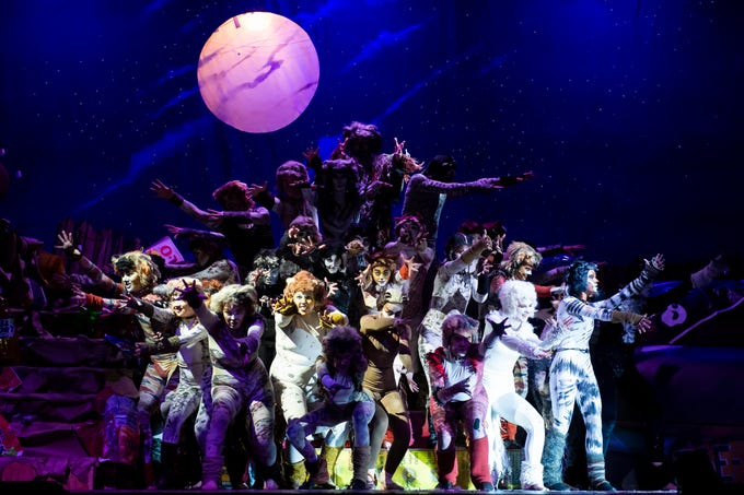 """Hanover High School students perform the opening number in their production of the musical """"Cats"""" during a dress rehearsal on Wednesday, April 10, 2019. Showtimes are this Friday and Saturday at 7 p.m. and Sunday at 2 p.m."""
