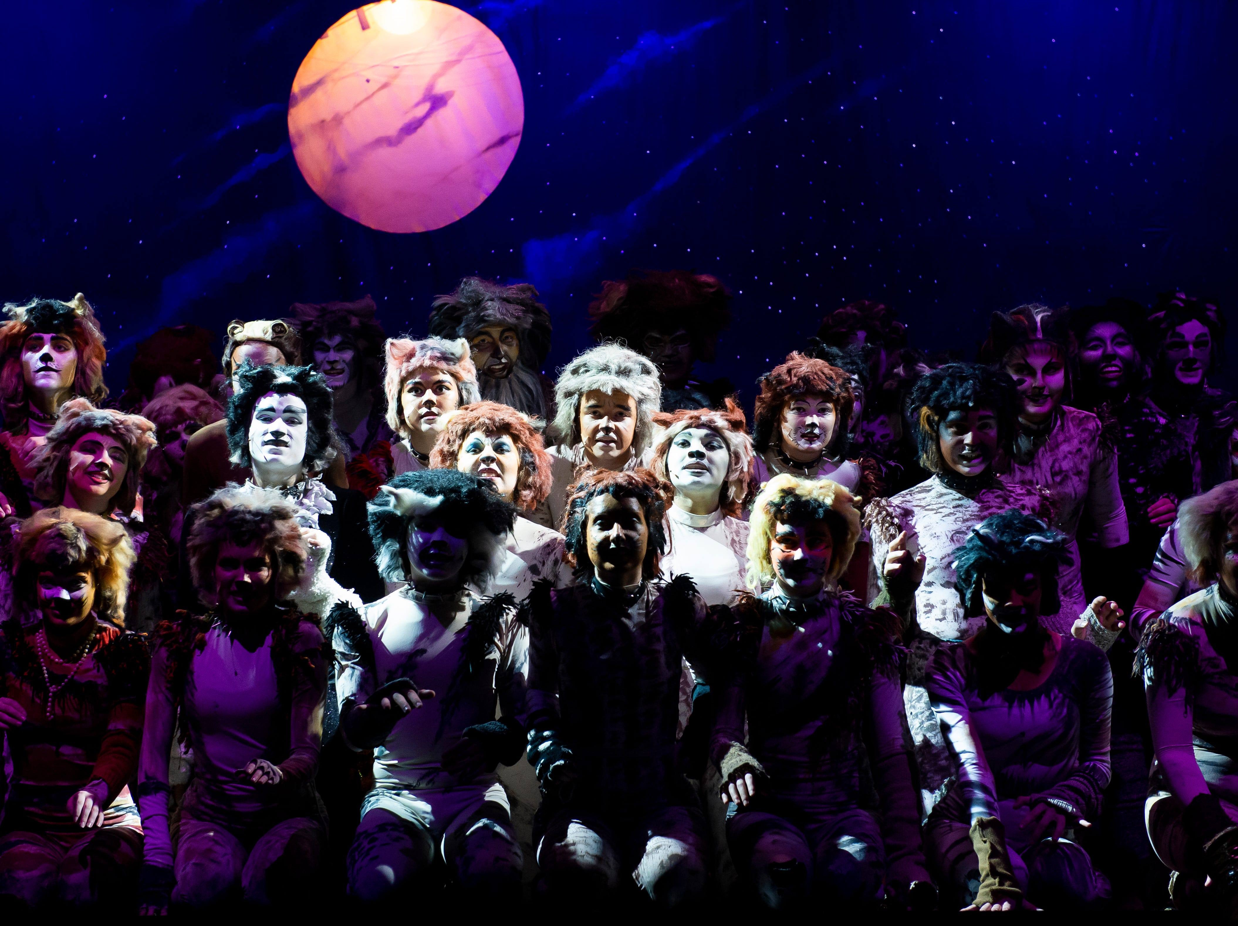 """Hanover High School students perform the opening number in their production of the musical """"Cats"""" during a dress rehearsal on Wednesday, April 10, 2019."""